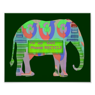 Elephant - Green Recycle Champion message Posters