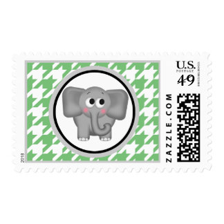 Elephant Green & White Houndstooth Postage Stamps