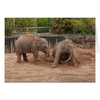 Elephant Greeting Card, Baby Elephants Playing Card
