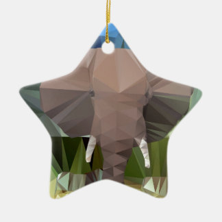 Elephant Head African Theme Low Poly Ceramic Ornament
