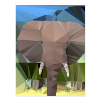 Elephant Head African Theme Low Poly Postcard