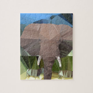 Elephant Head African Theme Low Poly Puzzles