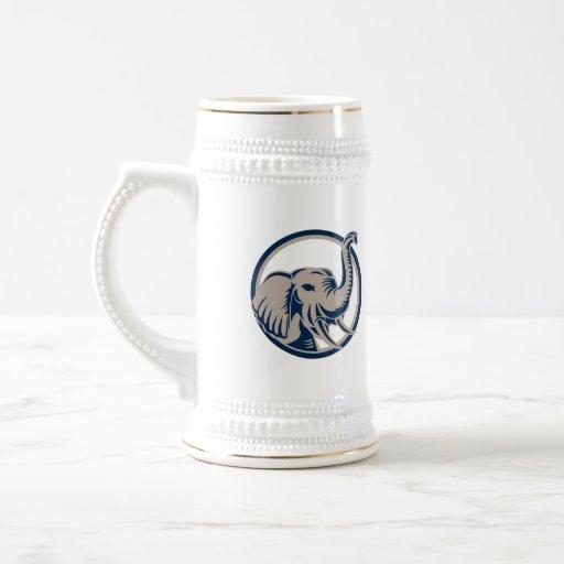 Elephant Head Front Retro Mugs
