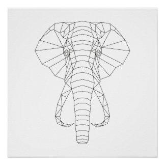 Elephant Head Geometric Black & White Modern Art Poster
