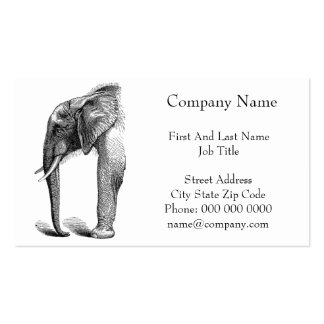 Elephant Head in Profile Drawing Business Card Templates