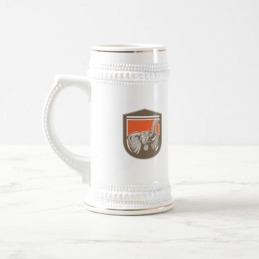 Elephant Head Looking Up Shield Retro Coffee Mug