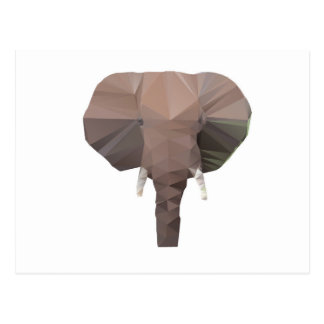 Elephant Head  Low Poly Vector Style Postcard