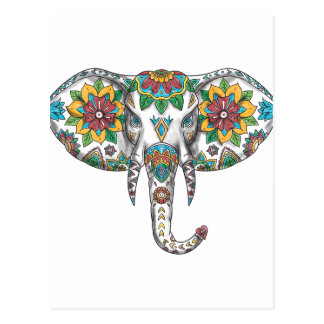 Elephant Head Mandala Tattoo Postcard