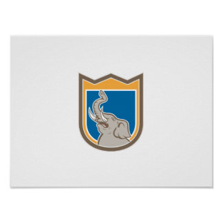 Elephant Head Roaring Trunk Up Shield Cartoon Print