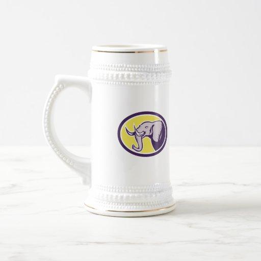 Elephant Head Side Oval Mug