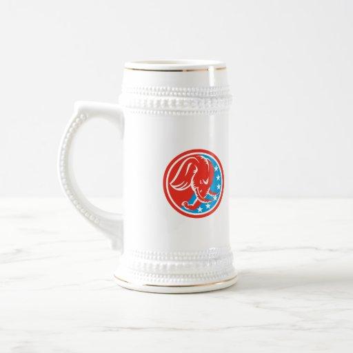 Elephant Head Side Stars Circle Retro Coffee Mug