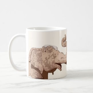 Elephant head Square Sticker save the elephant Coffee Mug