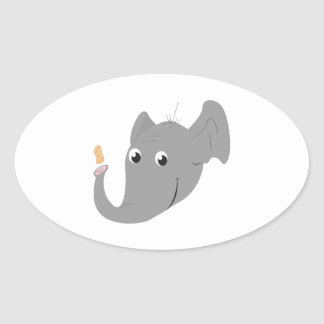 Elephant Head Oval Sticker