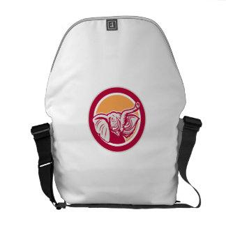 Elephant Head Tusk Circle Retro Commuter Bags