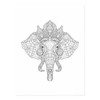 Elephant Head Zendoodle Postcard