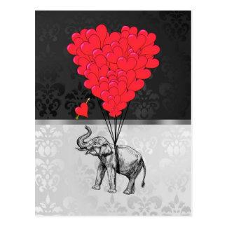 Elephant & heart balloons postcard