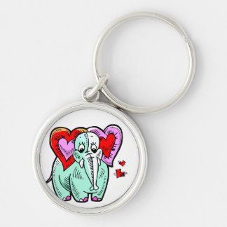 elephant heart ears cute design Silver-Colored round keychain