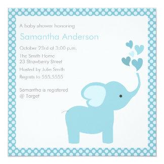 "Elephant Hearts Baby Shower Invitation - Boy 5.25"" Square Invitation Card"