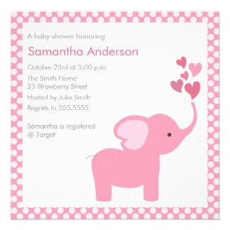 Elephant Hearts Baby Shower Invitation - Girl