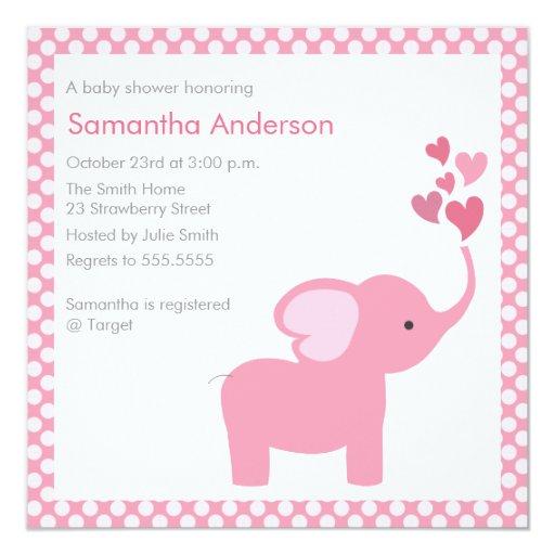 elephant hearts baby shower invitation girl zazzle