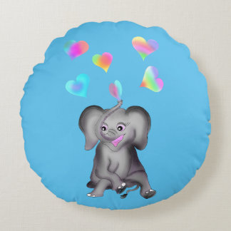 Elephant Hearts by The Happy Juul Company Round Pillow