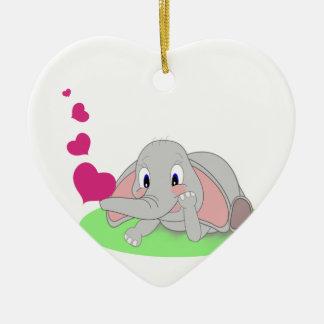 Elephant Hearts Ceramic Ornament