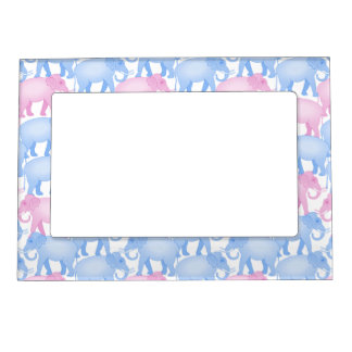 Elephant Herd in Pink and Blue Magnetic Frame