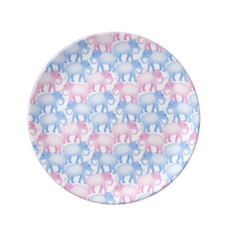 Elephant Herd in Pink and Blue Porcelain Plate