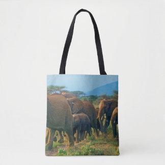 Elephant Herd Walking Tote Bag