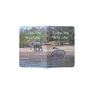 "ELEPHANT & HIPPO AT RIVER/ ""I LIKE THE WILD LIFE"" PASSPORT HOLDER"
