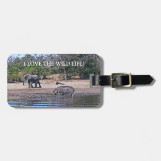"""""""ELEPHANT & HIPPO -I LOVE THE WILD LIFE"""" LUGGAGE T TAG FOR LUGGAGE"""