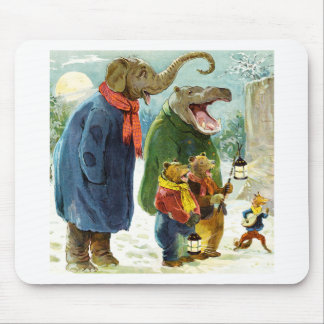 Elephant, Hippopotamus & Bears Go Caroling Mouse Pad