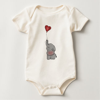 Elephant Holding Balloon Baby Bodysuit