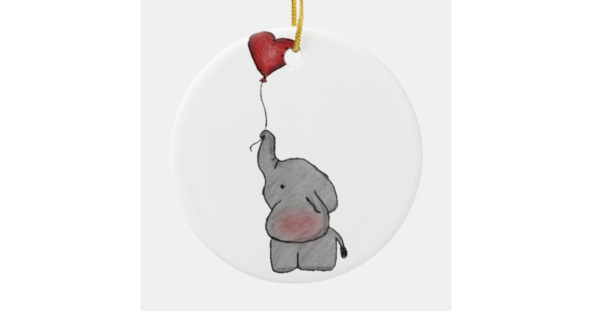 Elephant Holding Balloon Ceramic Ornament Zazzle Com
