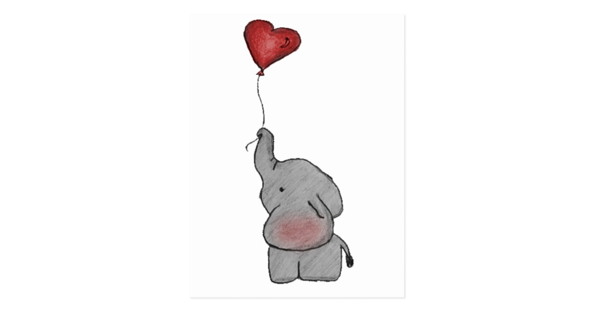 Elephant Holding Balloon Postcard Zazzle Com