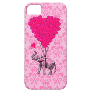 Elephant holding heart on pink damask iPhone 5 covers
