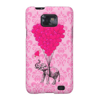 Elephant holding heart on pink damask samsung galaxy s2 cases