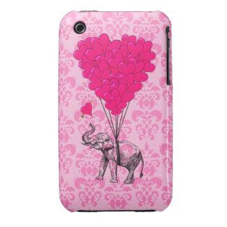 Elephant holding heart on pink damask iPhone 3 cases