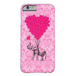 Elephant holding heart on pink damask barely there iPhone 6 case