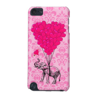 Elephant holding heart on pink damask iPod touch (5th generation) case