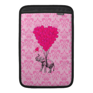 Elephant holding heart on pink damask MacBook air sleeves