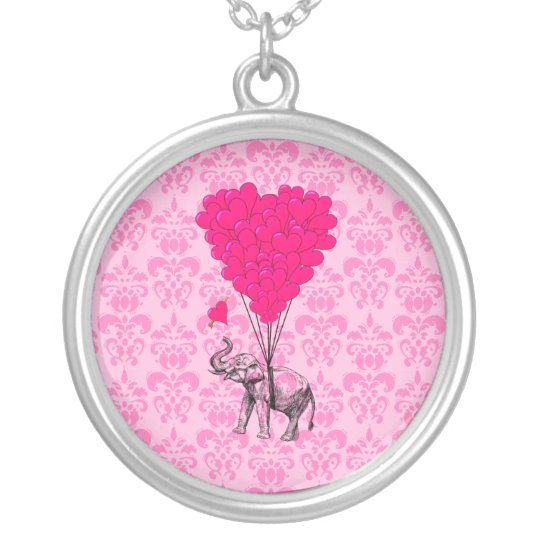 Elephant holding heart on pink damask silver plated necklace