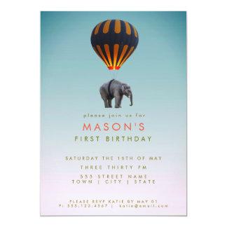 Elephant & Hot Air Balloon | Birthday Party Card