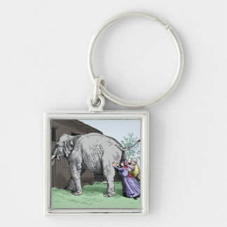 Elephant house Silver-Colored square keychain