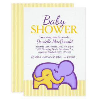 Elephant hug baby shower purple yellow invitation