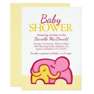 Elephant hug baby shower yellow pink invitation