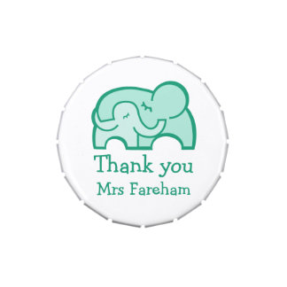 Elephant hug thanks you favor candy jelly belly candy tin