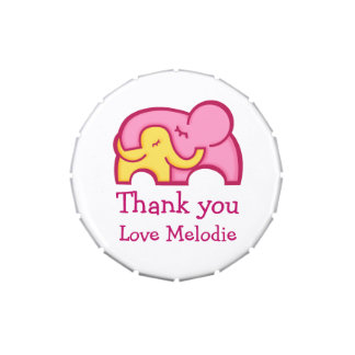 Elephant hug thanks you favor candy jelly belly tins