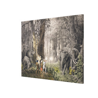 Elephant hunt in the region of Logalla, from 'Trav Stretched Canvas Prints