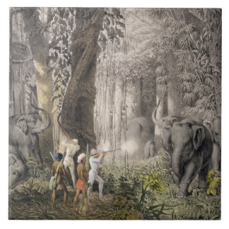 Elephant hunt in the region of Logalla, from 'Trav Tile